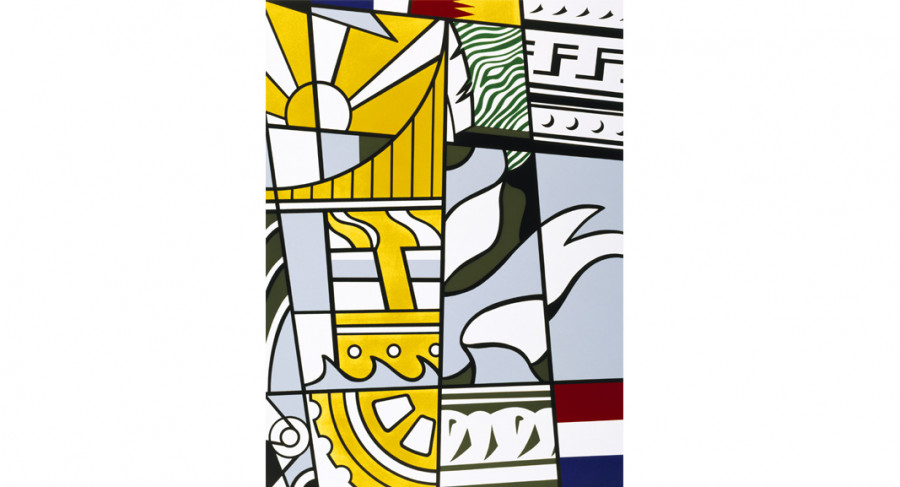 <i>Bicentennial Print</i> from the series <i>America: The Third Century</i>, 1975, By Roy Lichtenstein (American, 1923—1997); Lithograph and screenprint on paper; 30 x 22 1/4 inches; Museum purchase with funds provided by the National Endowment for the Arts Living Artist Fund; 1975.023.0005; © Estate of Roy Lichtenstein