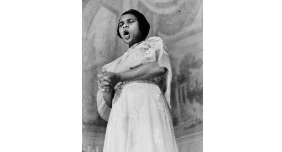 <i>Marian Anderson Singing, from LIFE Magazine</i>, 1938, By Alfred Eisenstaedt (American, 1898—1995); Gelatin silver print; Gift of Mr. Robert W. Marks; 1974.012.0084