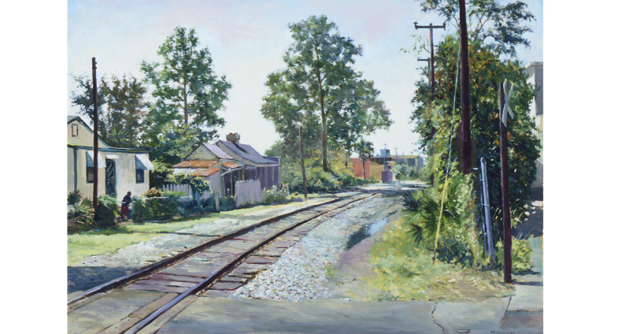 <i>Line Street Railroad Crossing</i>, 1991, By William McCullough (American, b. 1948); Oil on canvas; 30 1/2 x 40 1/4 inches; Museum purchase; 2001.025