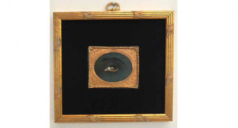 <i>Untitled (after Kerry James Marshall)</i> from <i>Series I: Reversing the Gaze</i>, 2018, By Tabitha Vevers (American, b.1957); Oil on Ivorine with tintype frame and fabric; 2 3/4 x 3 1/4 inches in 7 x 7 1/2 inch frame; Collection of the artist, Courtesy of Bookstein Projects