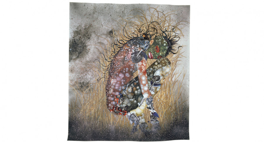 <i>Hide 'n' Seek, Kill or Speak</i>, 2004, Wangechi Mutu (Kenyan, b. 1972); Paint, ink, collage, mixed media on mylar; 42 x 48 inches; The Studio Museum in Harlem; Museum Purchase made possible by a gift from Jeanne Greenberg Rohatyn; Image courtesy of the artist