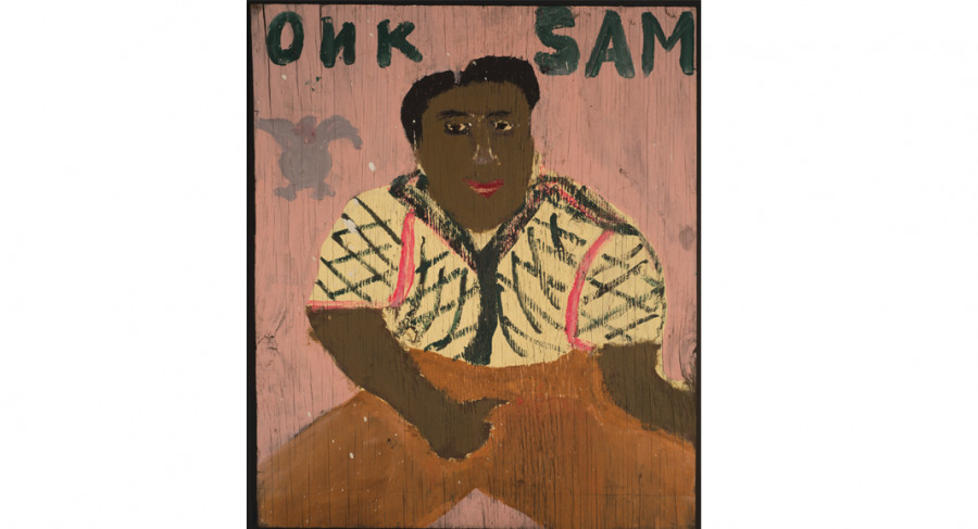 <i>Onk Sam (self-portrait)</i>, By Same Doyle (American, 1906-1985); House paint on wood panel; Gift of Mr. and Mrs. Charles L. Wyrick, Jr.; 2017.010.0003