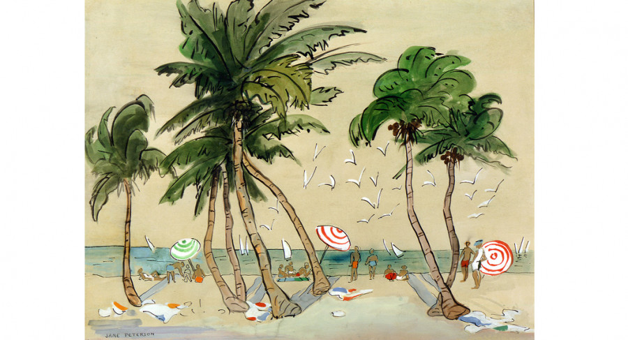 <i>Palm Beach</i>, ca. 1918, By Jane Peterson (American, 1876—1965); Watercolor and ink on paper; 26 1/2 x 33 inches; Gift of Mr. Thomas Bennett; 2000.014