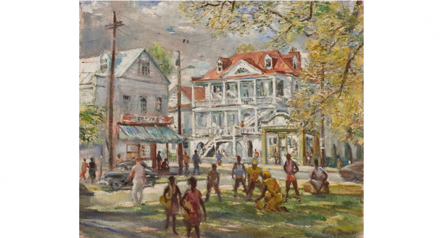 <i>Pick-up Game, Chapel Street</i>, 1980, By Horace Talmage Day (American, 1909—1984); Oil on canvas; 25 x 30 inches; Gift of H. Talmage Day; 2005.003