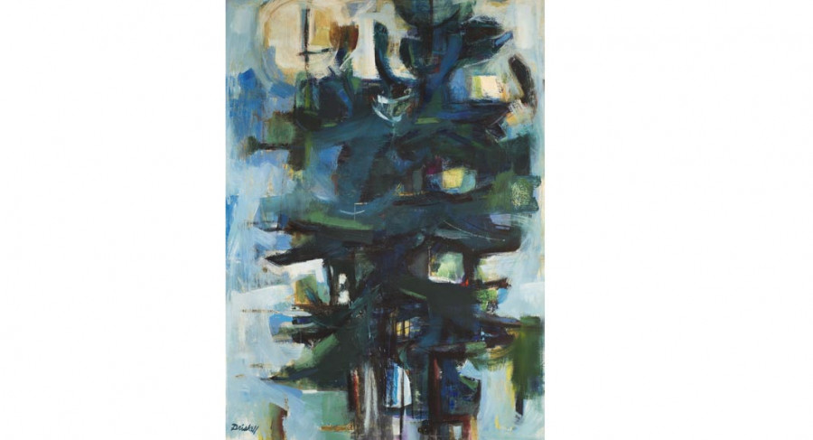 <i>Pine Trees</i>, 1961, By David Driskell (American, b. 1931); Oil and encaustic on canvas; Gift of Louis K. Rimrodt; 2018.002.0001