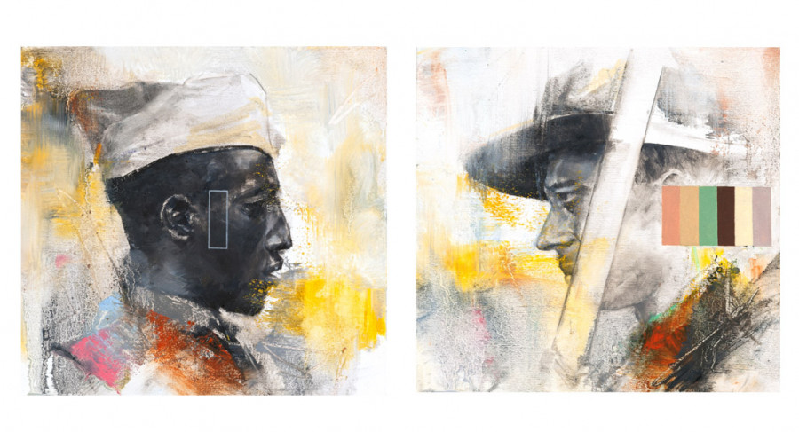 <i>Side A + B</i>, 2017, By Charles Edward Williams (American, b. 1984); 8 x 9 inches (framed diptych); Oil and gesso on watercolor paper; Courtesy of the Morris Museum of Art, Augusta, Georgia