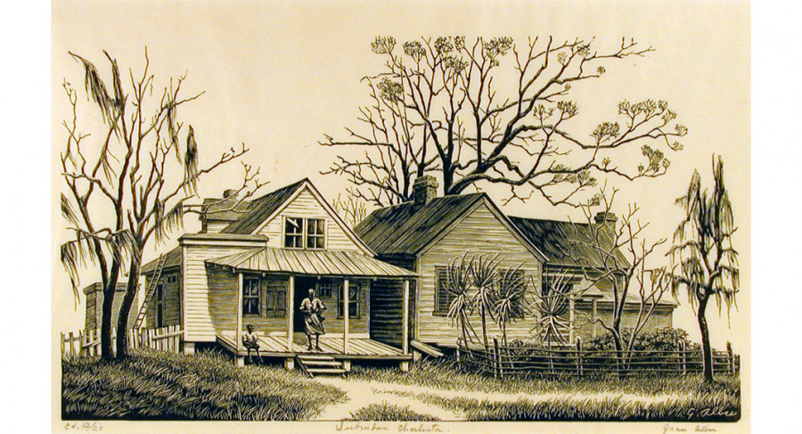 <i>Suburban Charleston</i>, ca. 1950, By Grace Albee (American, 1890—1985); Woodblock print on paper; 7 1/16 x 11 1/8 inches; Museum purchase; 1998.007.0002