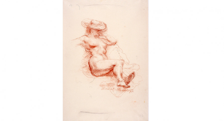<i>Reclining Sunbather</i>, 1972, By Frank Mason (American, 1921—2009); Sepia on cream paper; 20 5/8 x 15 inches; Courtesy of the Estate of Frank Mason; D091