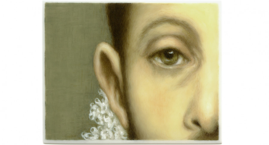 <i>Caballero (after El Greco)</i> from <i>Series II: Gaze of Desire</i>, 2013, By Tabitha Vevers (American, b. 1957); Oil on Ivorine; 2 3/4 x 3 1/2 inches on 9 x 12 inches panel; Collection of the artist, Courtesy of Bookstein Projects