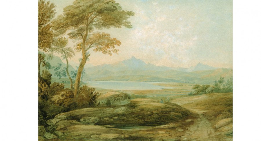 <i>Wales, Taquin Ferry, Snowdon from the Harlech</i>, 1819, By John Varley (British, 1778 - 1842); Watercolor on paper; Bequest of Mr. John H.D. Wigger; 2004.011.0015